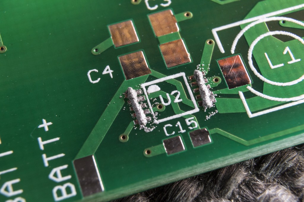 Solder paste applied to the pads